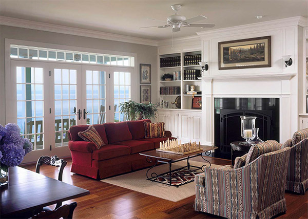 Fireplace and living room within a custom-built Connor Home